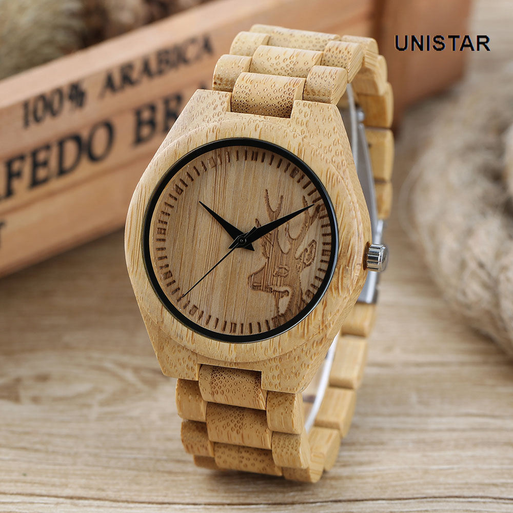 UNISTAR Luxury Nature Wooden Lovely Deer Head Theme Quartz Watches With Bamboo Strap Father's Day Gift Top Men Women Wristwatch unistar luxury nature wooden wrist watches quartz father s day gift top men women watches relojes de madera relogio masculino