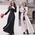 Longo Trench Coat mulheres único Breasted novo 2016 estilo europeu marca vestido fêmea magro Extra longo poeira Coath primavera blusão
