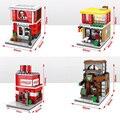 Забавные мини-street view магазины строительный блок Макдональд Cola Жареная курица Starbucks coffice магазин совместимость legoeinglys. город игрушки