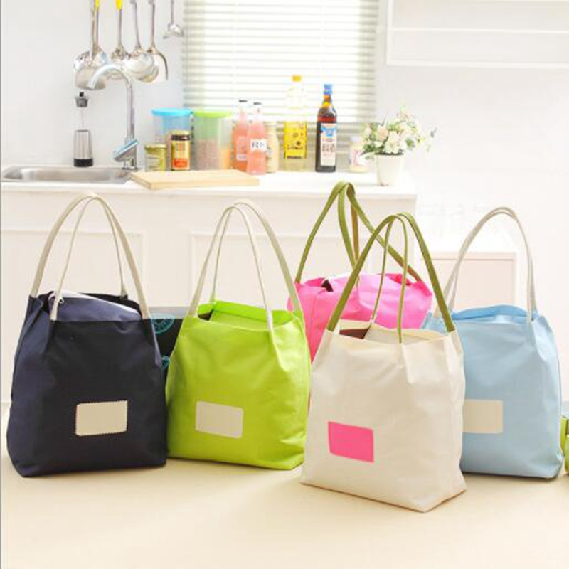 Women Pure Color Lunch Bags Aluminum Thicken Simple Portable Picnic Cooler Lunch Box Girl Insulated ToteThermal Storage Case simple v neck cap sleeve pure color spliced blouse for women