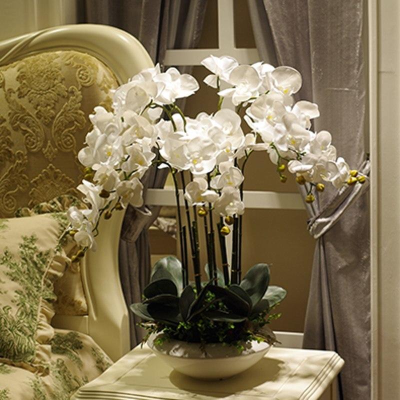 Artificielle grande taille PU réel toucher main sentiment orchidée fleur agencement bonsaï fleur seulement pas de vase luxe fleur bouquet