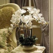 人工ビッグサイズpuリアルタッチ手触り蘭フラワーアレンジメント盆栽花のみなし花瓶luxious花花束
