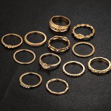 Fashion 12 PCS/set Charm Gold Color Midi Finger Ring Set for Women Vintage Boho Knuckle Party Rings Punk Jewelry Gift for Girl