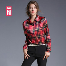 Original Brand Femme Silk Popin Plaid Shirt Blouse Female Party Tees Woman Chemise Long Sleeve Blusas Formal Vestidos