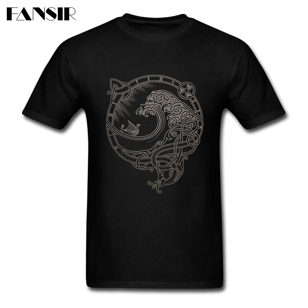 Men Tshirts Classical Style 100% Cotton Short Sleeve Tee Shirt Men Man's Vikings North Wind Team Tops Clothing