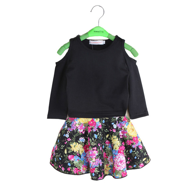 Spring Baby Girl's Clothing Sets Strapless Tops+Dress Sundress Kid Long Sleeve Black Tops Tshirt Floral Dresses Children Outfit