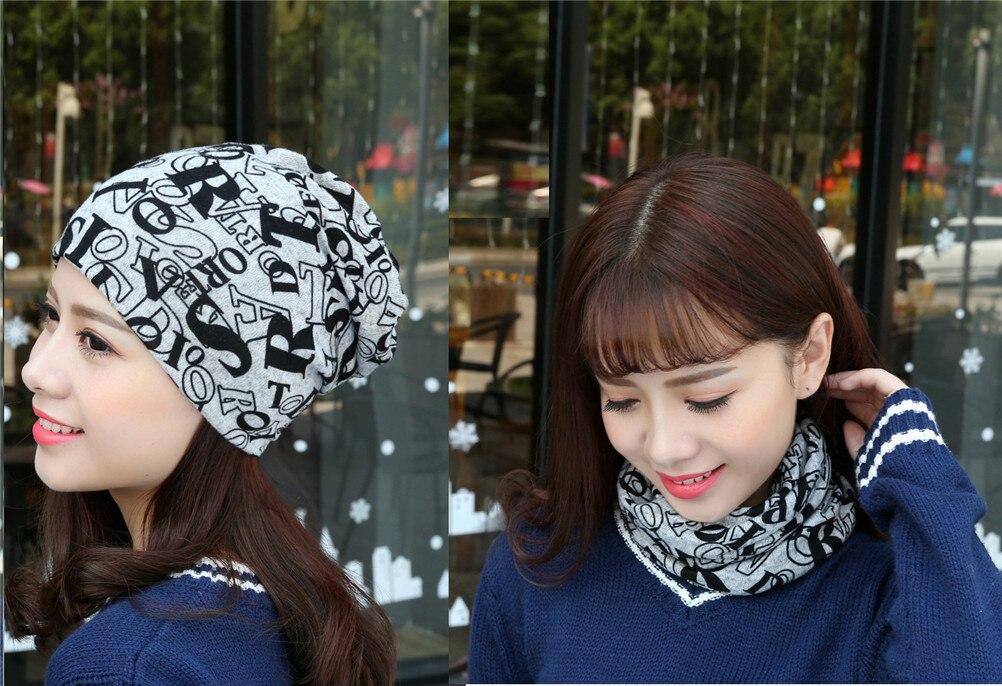 100% QualitäT Neue Frauen Warme Herbst Schal 2 Verwenden Stricken Baumwolle Brief Stil Herbst Hut Damen Beanie Kappe Mädchen üBerlegene Materialien