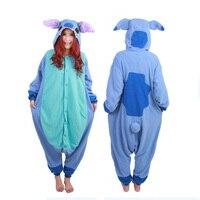 New Fleece Cute Kigurumi Anime Unisex Adults Animal Pajamas Pink Blue Stitch Cosplay Costume Sleepwear Onesie