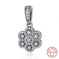 Bohemia 100 925 Sterling Silver White Flower Charm With AAA Clearly Zirconia Charms Fit Women Bracelets