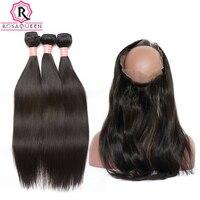 360 Dentelle Frontale Avec Faisceau 3 de Cheveux Humains Faisceaux Ajouter frontale Fermeture Avec Des Cheveux de Bébé Droite Brésilienne Vierge Cheveux Rosa reine
