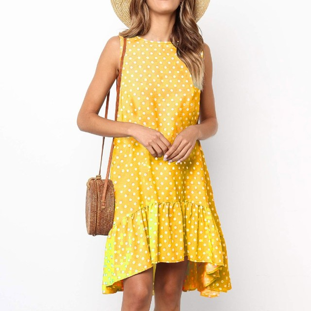 9d3e3fe029ec8 Women s Summer Dot Print Beach Dress Sleeveless Casual Loose Women Evening  Short Lady Beachwear Mini SunDress Vestidos
