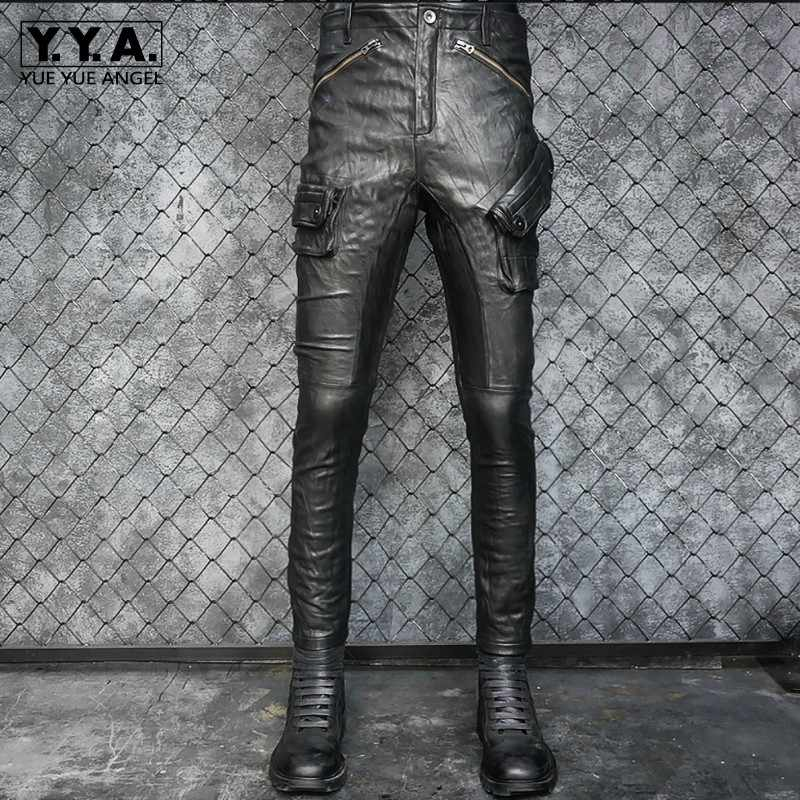 Men Genuine Leather Pants Motorcycle Slim Sheepskin Pleated Pencil Pants Luxury Multi-Pocket Vintage Punk Biker Trousers Black