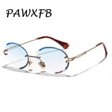 PAWXFB New Clear Blue Rimless Round Sunglasses Women Brand Designer Metal Sun Glasses Eyewear Occhiali da sole Shades