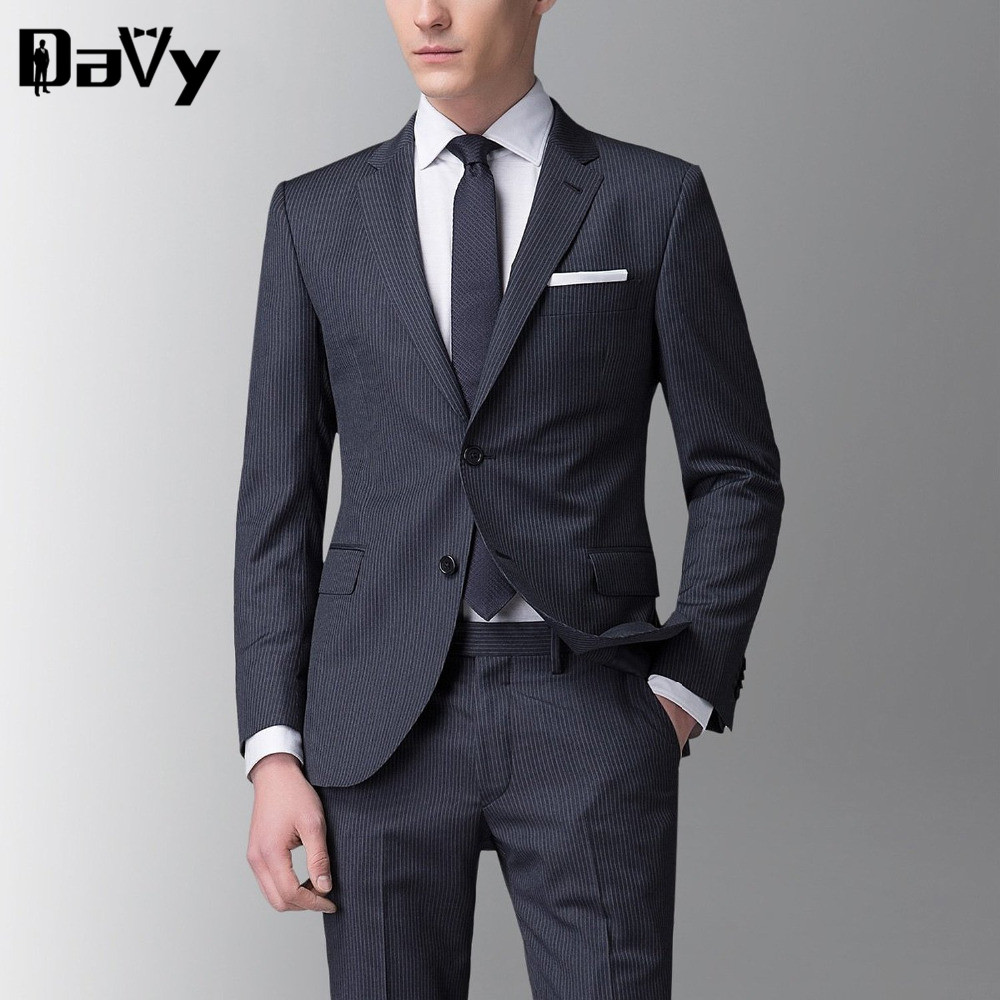 Tailor Made the groom s wedding dress Men s wedding suits Male Custom Made Stripe Wool