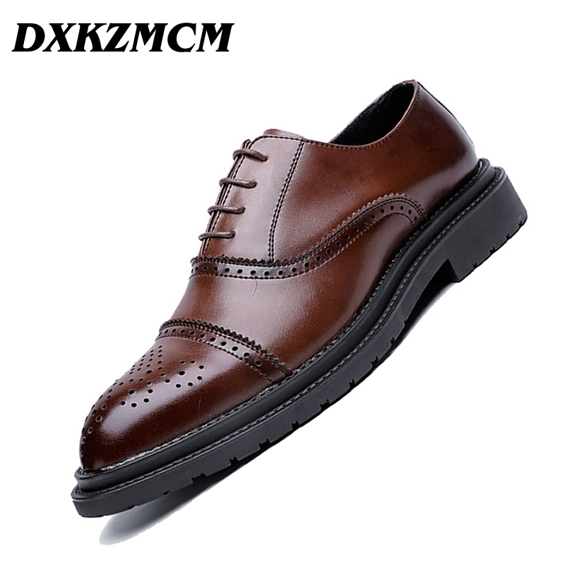 DXKZMCM Genuine Leather Men Oxford Lace Up Wedding Party Man Brown Dress Shoes Brogue
