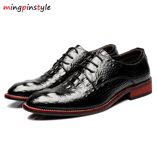 Mingpinstyle Crocodile Pattern Men Luxury Dress Shoes Italian MenWedding  Black Lace Up OxfordLeather Shoes Big Size 8874a97a63c3