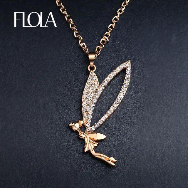 Flola cute flying fairy necklace gold long chain crystal angel flola cute flying fairy necklace gold long chain crystal angel necklaces pendants for women girls fashion aloadofball