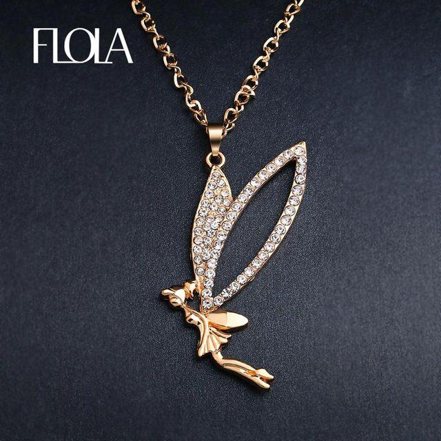 Flola cute flying fairy necklace gold long chain crystal angel flola cute flying fairy necklace gold long chain crystal angel necklaces pendants for women girls fashion aloadofball Gallery