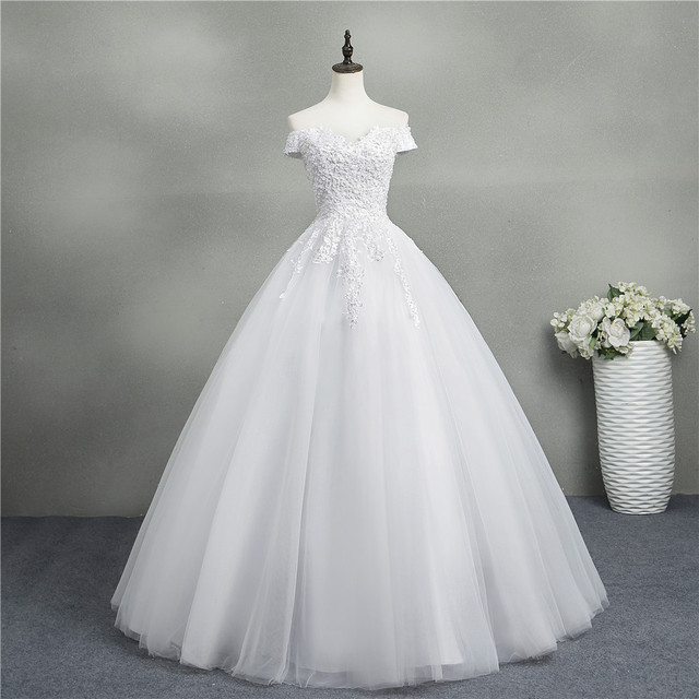 ZJ9145 2020 new White Ivory Elegant Ball Gown Off Shoulder Wedding Dresses for brides Lace sweetheart with lace edge Plus Size 1
