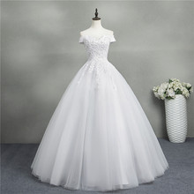 ZJ9145 2019 ใหม่สีขาว Ivory Ball Gown Off ไหล่ชุดแต่งงานสำหรับเจ้าสาวลูกไม้ sweetheart ลูกไม้ edge Plus ขนาด
