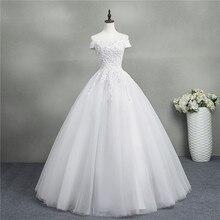 ZJ9145 2019 nieuwe Wit Ivoor Elegant Baljurk Off Shoulder Trouwjurken voor bruiden Lace sweetheart met kant rand Plus size
