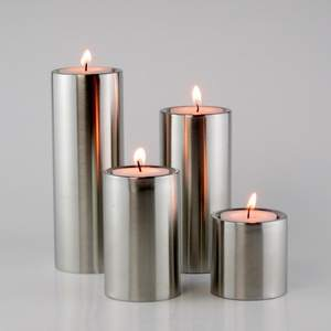 Candle-Holders Decoration Stainless-Steel Cylindrical Home Hotel 4pcs/Set