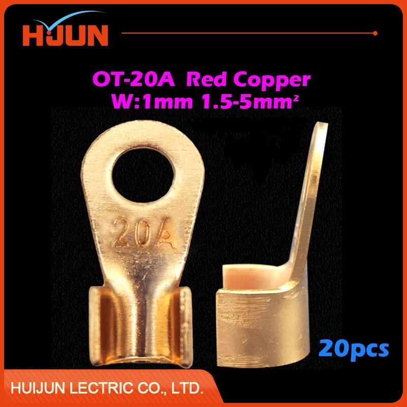 10pcs/lot OT 40A 6.2mm Dia Red Copper Circular Splice