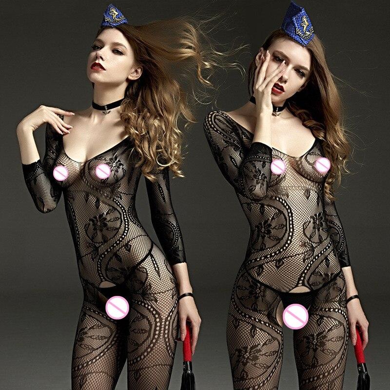 Buy Sexy black Bodystockings erotic lingerie lace sleepwear intimates Kimono Sex products nightgown crotchless women silk stockings