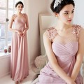 2017 barato longo da dama de honra vestidos chiffon colher uma-lline dusty rose rosa maid of honor vestidos de casamento vestidos de festa