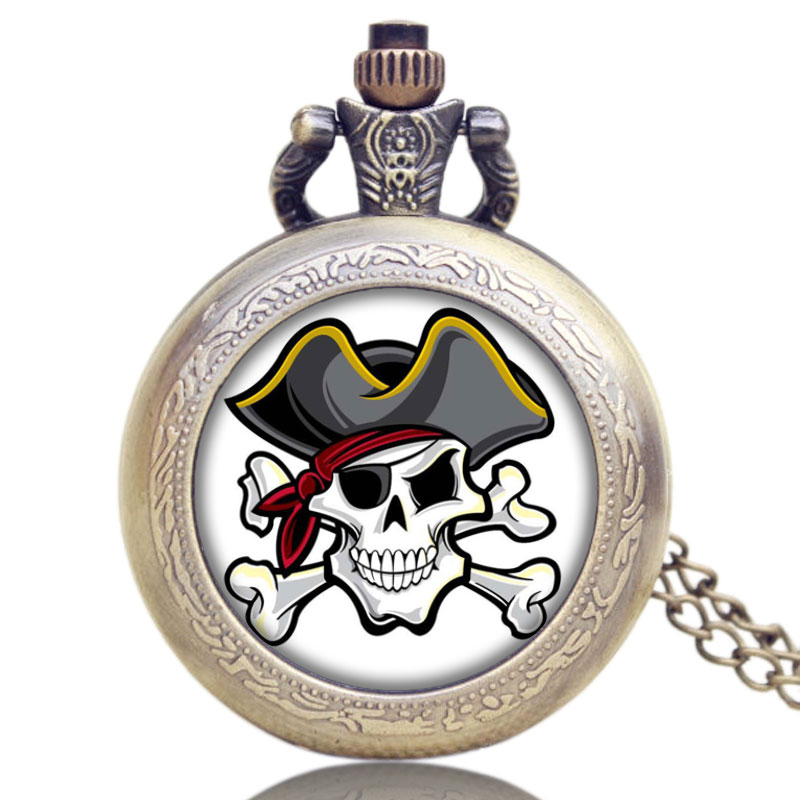 Hot Japanese Anime Pirate Skull Theme Glass Dome Bronze Quartz Pocket Watch With Necklace Chain For Men Women Christmas Gifts