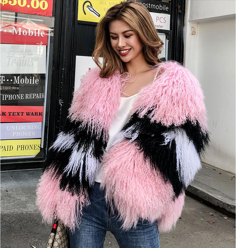Women winter real mongolia Sheep Fur coat sheepskin beach wool fur jacket female outerwear