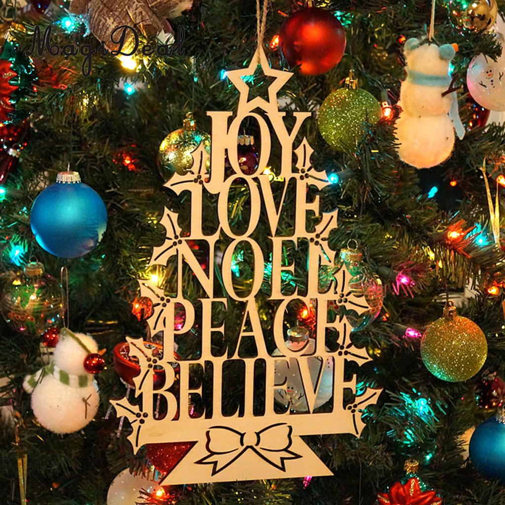Unfinished Merry Christmas Wooden Board Plaque Wall Door Tree Hanging Decor