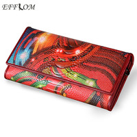 Fashion Genuine Leather Women Wallet Vintage Flower Printed Floral Red Wallets Ladies' Long Clutches With Coin Purse Card Holder