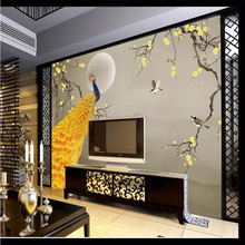 Custom 3d mural Chinese style plum peacock background wall decoration painting wallpaper mural photo wallpaper
