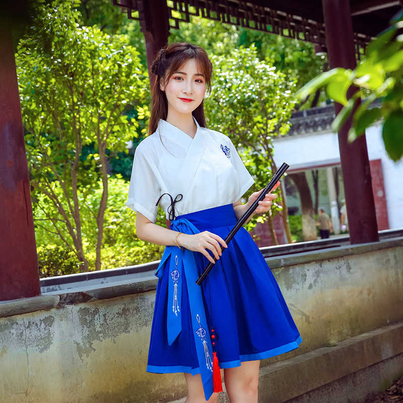 Hanfu Costume Dress Women Improved Hanfu Daily Short Sleeve Hanfu Embroidered Crossdresses Costumes Han Elements Student Set 23