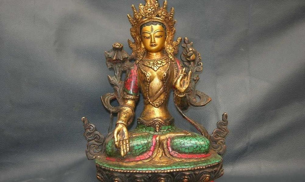 Tibet Folk Pure Copper Inlay Red Coral Turquoise Gild White TaRa Kwan-yin buddha