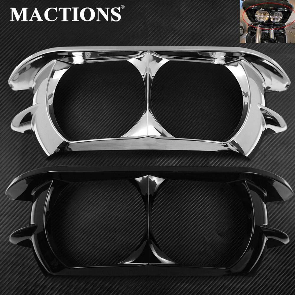 Motorcycle Dual Headlight ABS Fairing Trim Bezel Scowl Cover Black Chrome For Harley Touring Road Glide