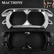 Motorcycle Dual Headlight ABS Fairing Trim Bezel Scowl Cover Black/Chrome For Harley Touring Road Glide Customs 2015 2019