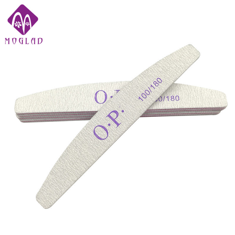 5PCS/lot semilune grey nail file 100/180 nail art sanding salon buffer nail file manicure nail tools