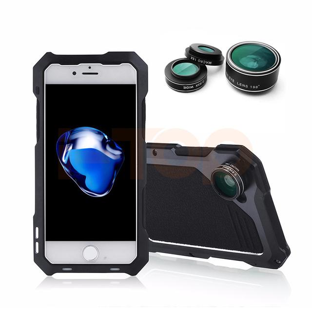 2017 nova câmera de lente grande-angular macro lentes olho de peixe para iphone 6 6 s plus casos de proteção de choque-resistente gabinete tela