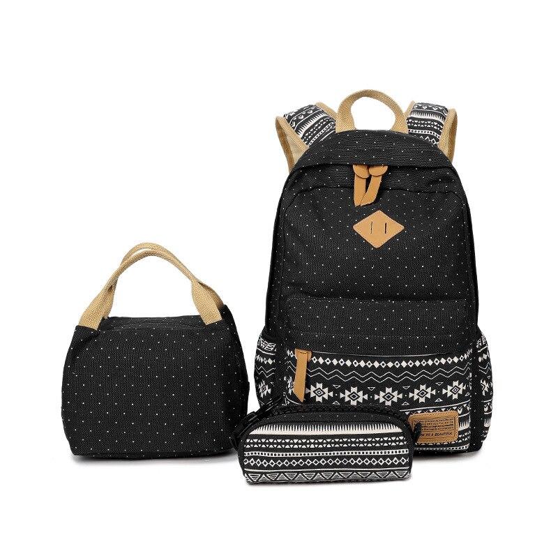 Laptop Backpack Bookbags Knapsack Large-Capacity Preppy-Style Women Canvas Satchel Printing
