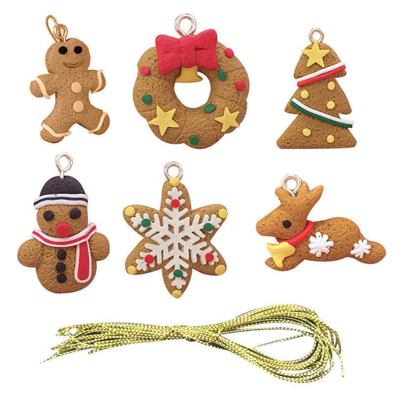 Wakauto 10 Unids Colgante de Navidad Hombre de Jengibre Decoraci/ón Colgante de Navidad /Árbol de Navidad Adornos Colgantes Fiesta de Navidad Favor Suministros para Fiestas