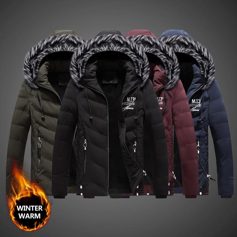 Fashion Streetwear Winter Jackets Men Fur Collar Printed Designer Thick Velvet Parka Men Casual Outwear Warm Down Jackets