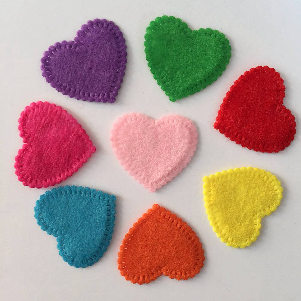 NEW 100PCS Mix 25mm Padded Felt Heart Appliques Crafts Wedding Making DIY/wedding A69A