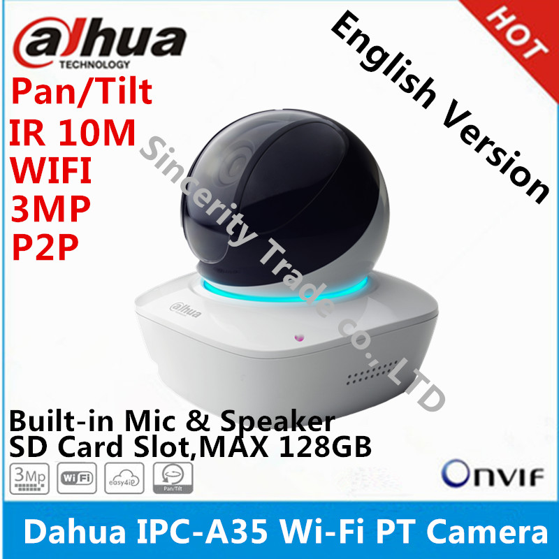 bilder für Original DAHUA IPC-A35 HD 3MP Wifi Kamera IR10M Abstand eingebautes MIKROFON & SPK mit SD Card slot pan tilt mini dome IP kamera