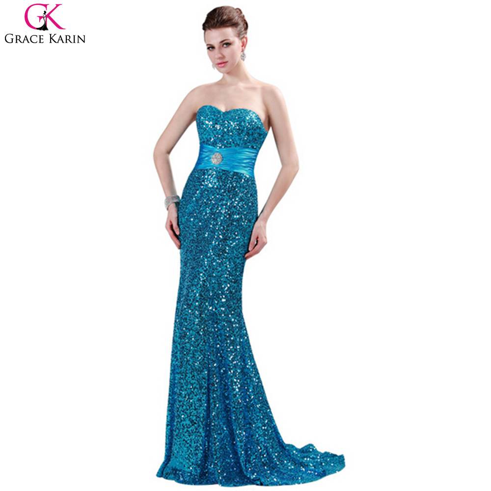 Grace Karin Luxury Sequin Royal Blue Red Black Silver Mermaid Prom ...