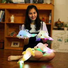 Hot 32cm Cute Creative Luminous Plush Toy Dolphin Doll Glowing LED Light Animal Toys Colorful Doll Pillow Children's Lovely Gift hot sale 38cm colorful glowing teddy bear luminous plush toy staffed lovely toy for kids girls gift kawaii doll
