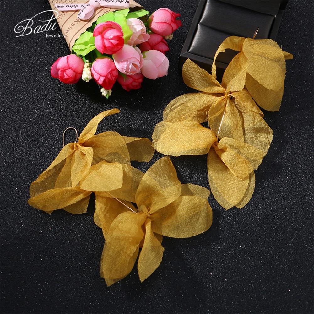 Badu Colorful Yarn Flower Long Drop Earrings Handmade 3 Layers Fabric Earring Women Christmas Jewelry Wholesale