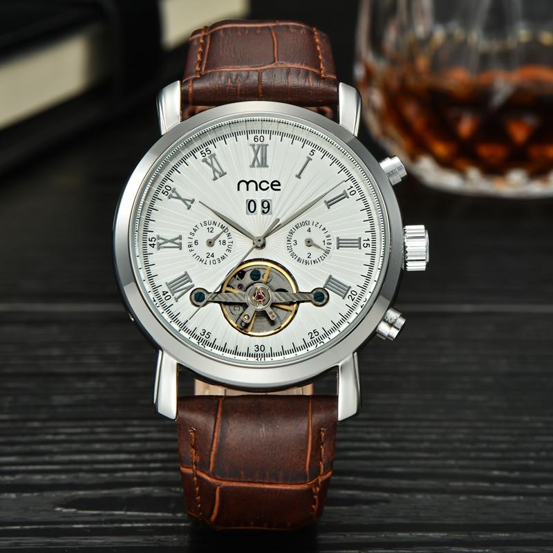 mce branded Men watch western watch white Tourbillon Date Vintage Mechanical Watch Free Shipping Relogio Masculino