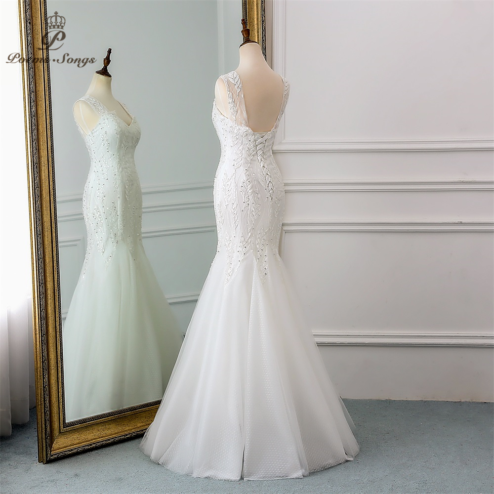 Image 3 - PoemsSongs 2019 new beautiful sequined lace wedding dress robe mariage  Vestido de noiva Mermaid wedding dresses robe de mariee-in Wedding Dresses from Weddings & Events